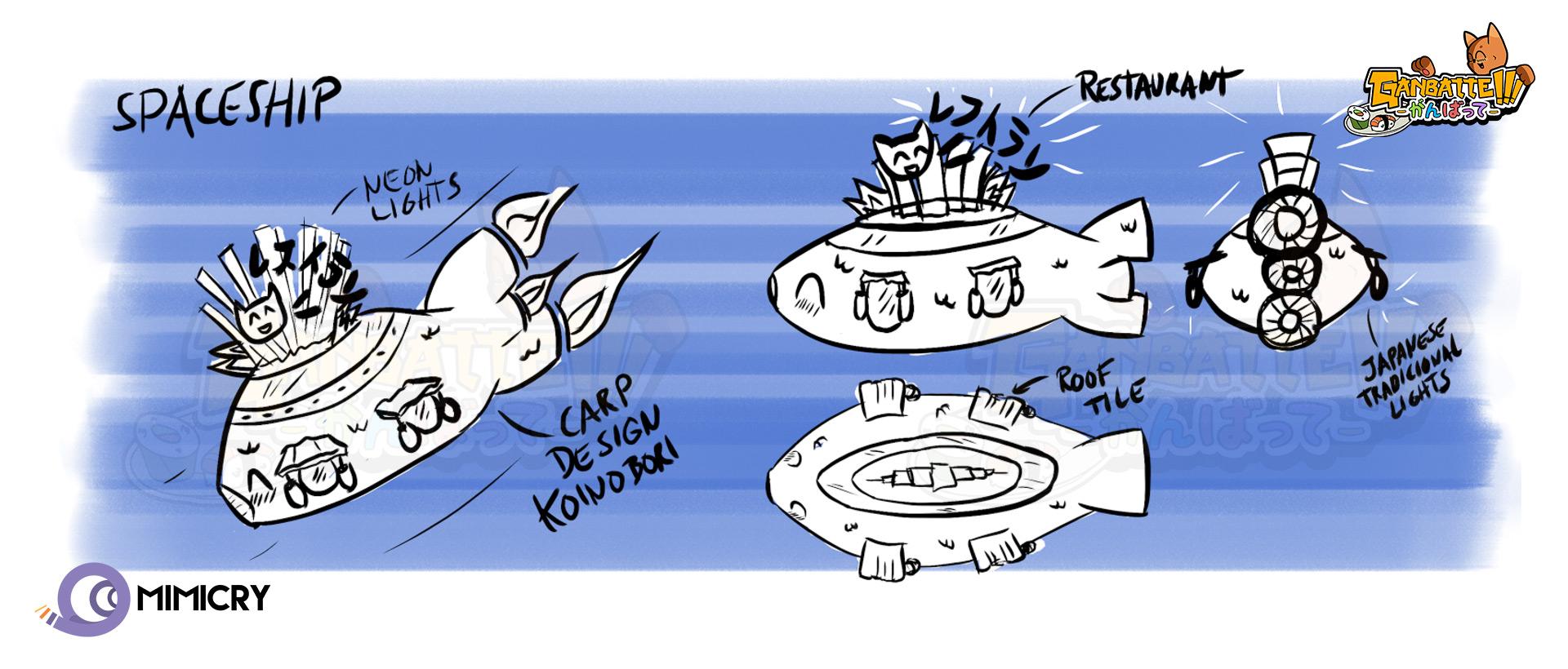 Ganbatte spaceship restaurant concept sketches