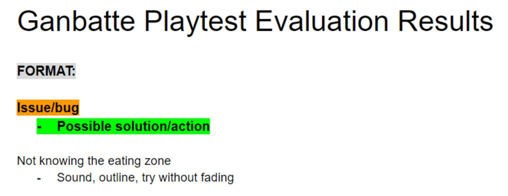 playtest evaluation format example