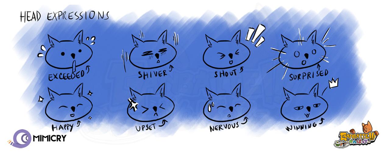 ganbatte game head expressions