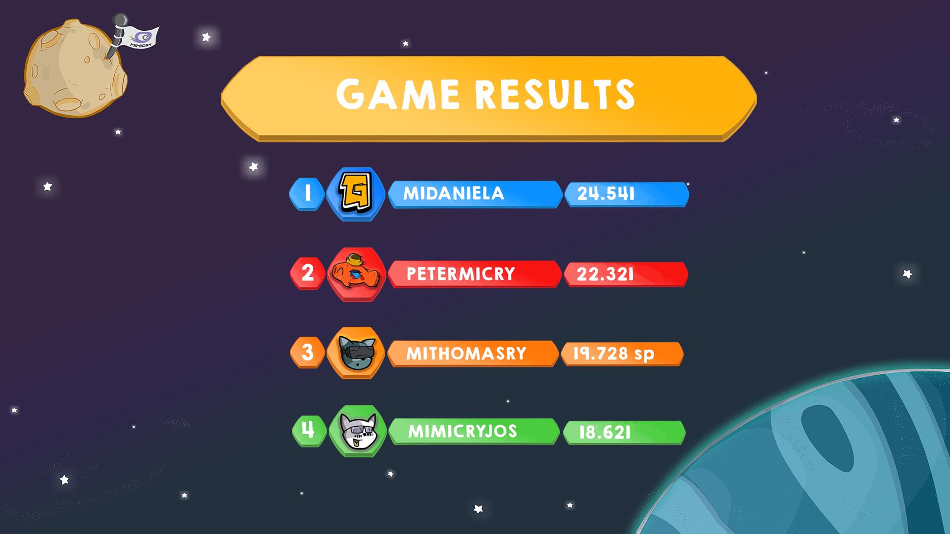 Game results for arcade mode Ganbatte match